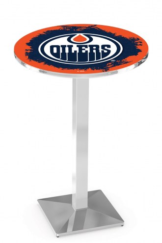 Edmonton Oilers Chrome Bar Table with Square Base