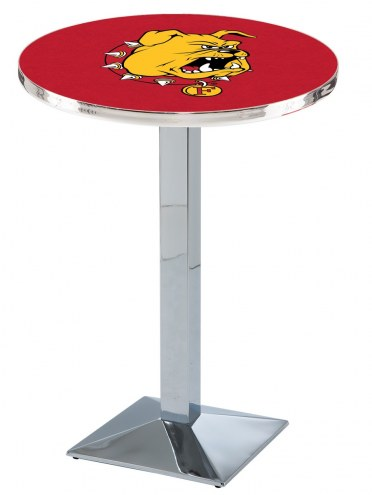 Ferris State Bulldogs Chrome Bar Table with Square Base