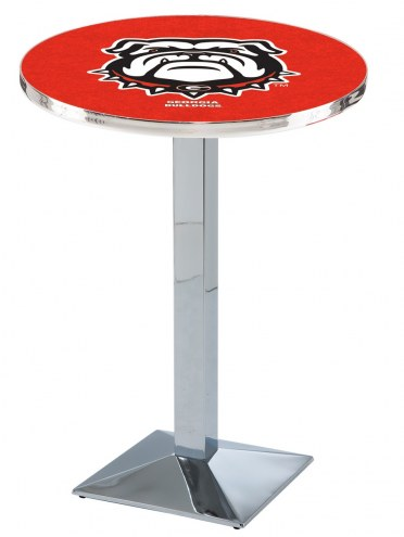 Georgia Bulldogs Chrome Bar Table with Square Base