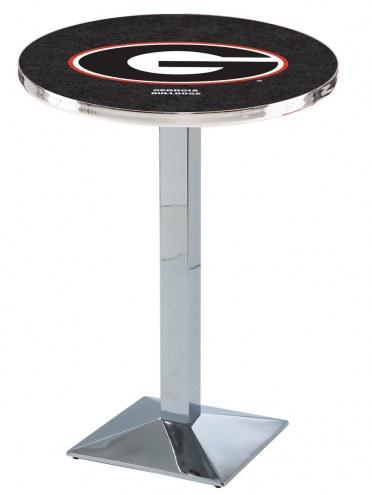 "Georgia Bulldogs ""G"" Chrome Bar Table with Square Base"