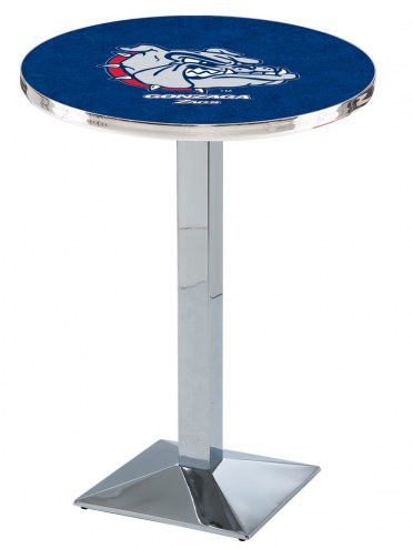 Gonzaga Bulldogs Chrome Bar Table with Square Base