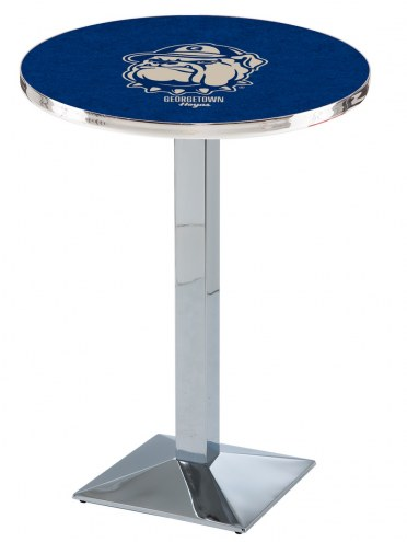 Georgetown Hoyas Chrome Bar Table with Square Base