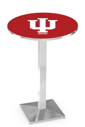 Indiana Hoosiers Chrome Bar Table with Square Base