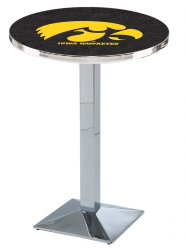 Iowa Hawkeyes Chrome Bar Table with Square Base
