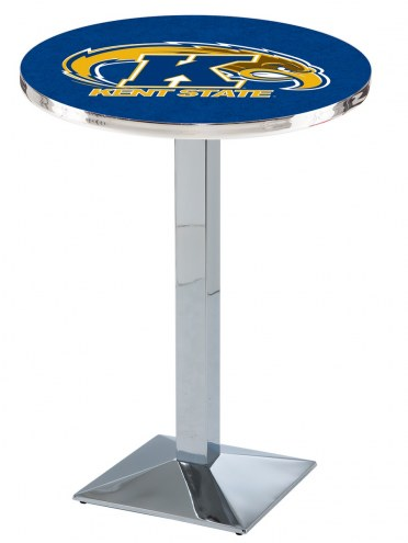 Kent State Golden Flashes Chrome Bar Table with Square Base