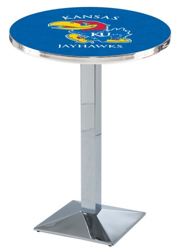 Kansas Jayhawks Chrome Bar Table with Square Base