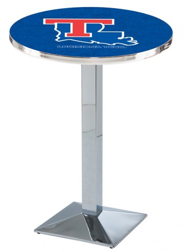 Louisiana Tech Bulldogs Chrome Bar Table with Square Base