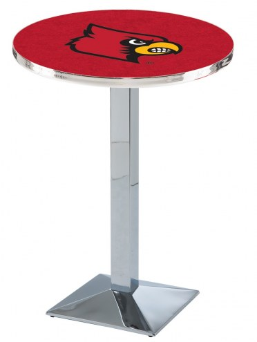 Louisville Cardinals Chrome Bar Table with Square Base