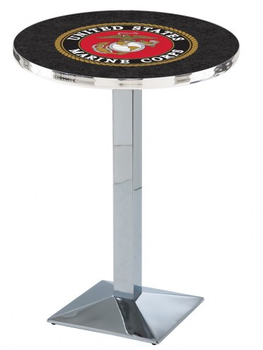 U.S. Marine Corps Chrome Bar Table with Square Base