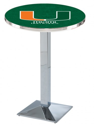 Miami Hurricanes Chrome Bar Table with Square Base