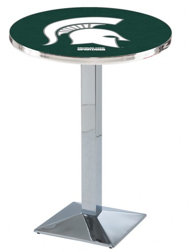Michigan State Spartans Chrome Bar Table with Square Base