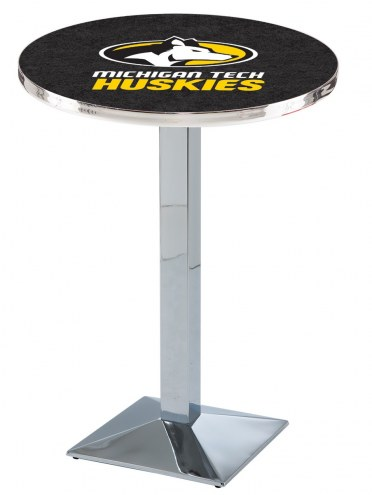 Michigan Tech Huskies Chrome Bar Table with Square Base