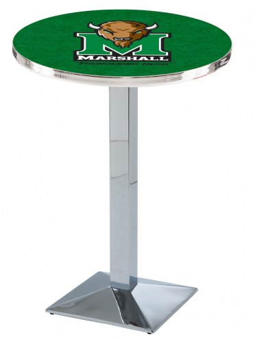 Marshall Thundering Herd Chrome Bar Table with Square Base