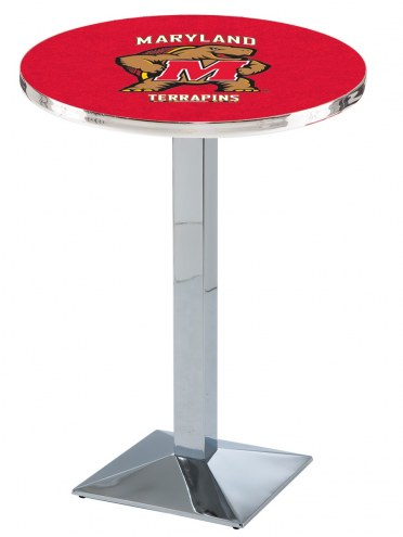 Maryland Terrapins Chrome Bar Table with Square Base