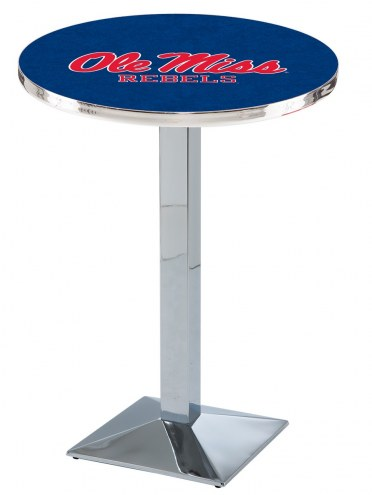 Mississippi Rebels Chrome Bar Table with Square Base