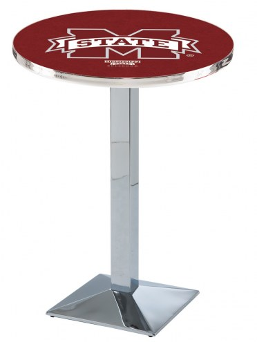 Mississippi State Bulldogs Chrome Bar Table with Square Base