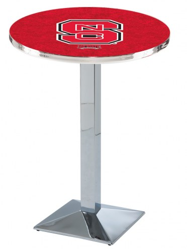North Carolina State Wolfpack Chrome Bar Table with Square Base