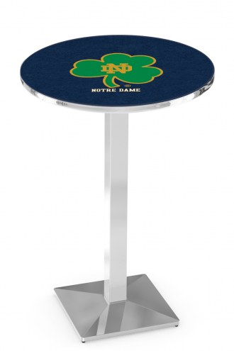 Notre Dame Shamrock Chrome Bar Table with Square Base