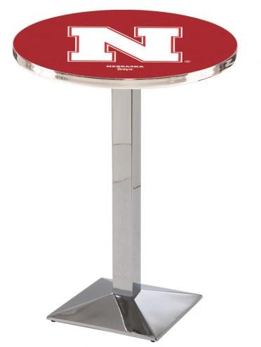 Nebraska Cornhuskers Chrome Bar Table with Square Base