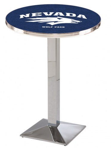 Nevada Wolf Pack Chrome Bar Table with Square Base