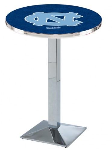 North Carolina Tar Heels Chrome Bar Table with Square Base