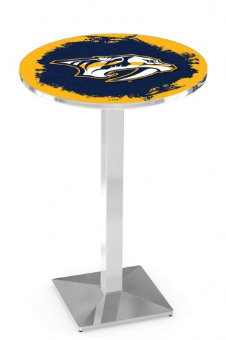 Nashville Predators Chrome Bar Table with Square Base