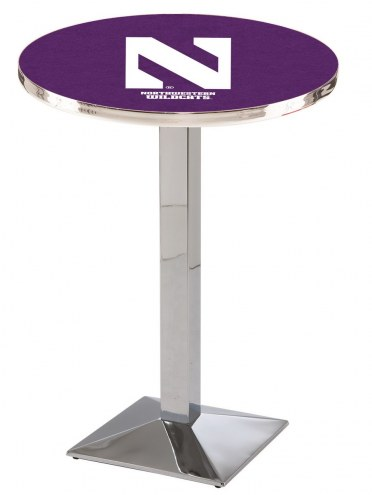 Northwestern Wildcats Chrome Bar Table with Square Base