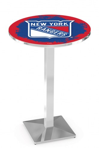 New York Rangers Chrome Bar Table with Square Base