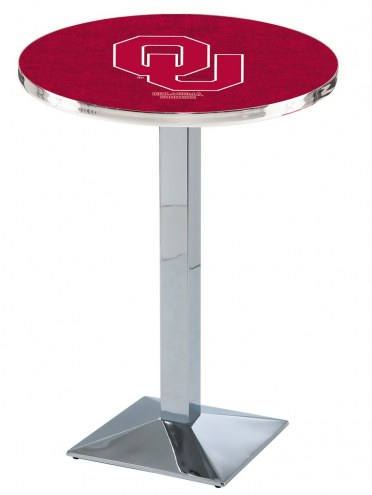 Oklahoma Sooners Chrome Bar Table with Square Base