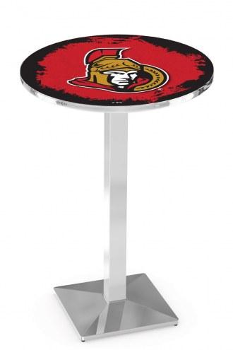 Ottawa Senators Chrome Bar Table with Square Base