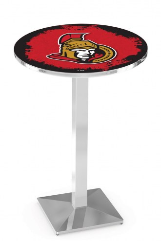 Ottawa Senators Chrome Bar Table with Square Base