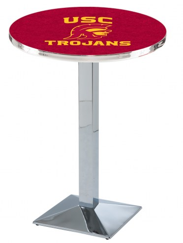 USC Trojans Chrome Bar Table with Square Base