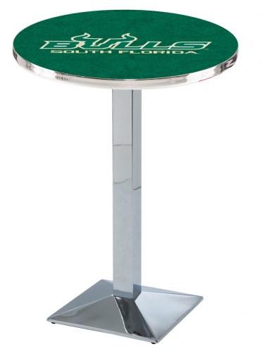 South Florida Bulls Chrome Bar Table with Square Base