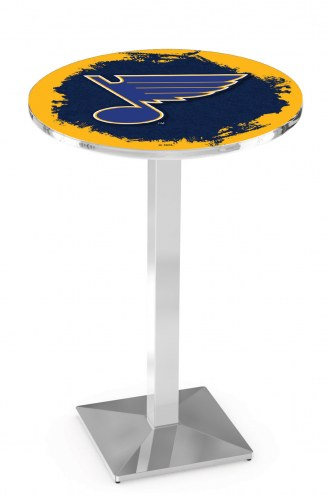 St. Louis Blues Chrome Bar Table with Square Base