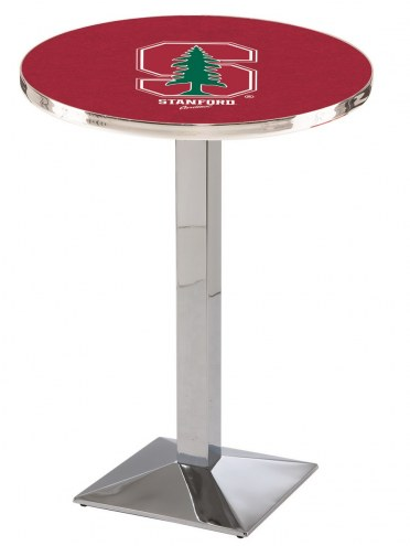 Stanford Cardinal Chrome Bar Table with Square Base