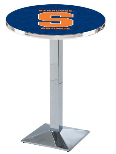 Syracuse Orange Chrome Bar Table with Square Base