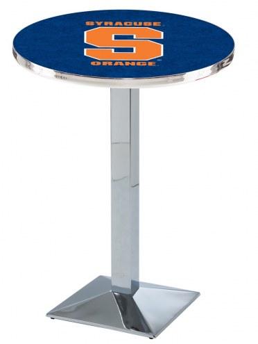 Syracuse Orange Chrome Bar Table with Square Base