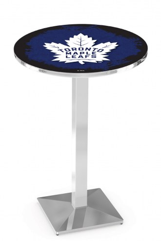 Toronto Maple Leafs Chrome Bar Table with Square Base