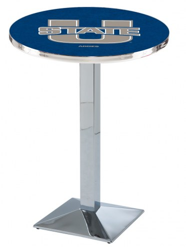 Utah State Aggies Chrome Bar Table with Square Base