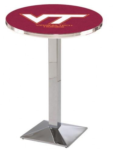 Virginia Tech Hokies Chrome Bar Table with Square Base
