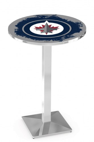 Winnipeg Jets Chrome Bar Table with Square Base