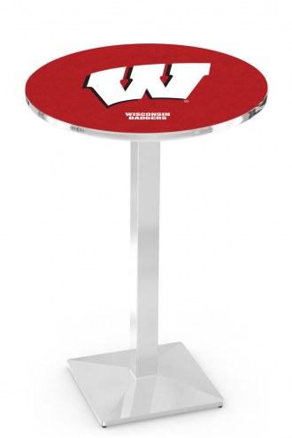 """Wisconsin Badgers """"W"""" Chrome Bar Table with Square Base"""