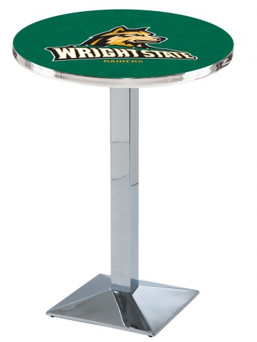 Wright State Raiders Chrome Bar Table with Square Base