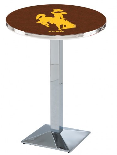 Wyoming Cowboys Chrome Bar Table with Square Base