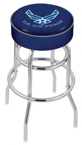 Air Force Falcons Double-Ring Chrome Base Swivel Bar Stool