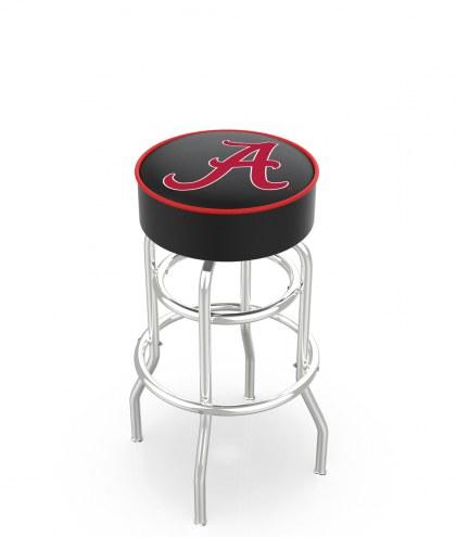 "Alabama Crimson Tide ""A"" Double-Ring Chrome Base Swivel Bar Stool"