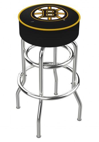 Boston Bruins Double-Ring Chrome Base Swivel Bar Stool
