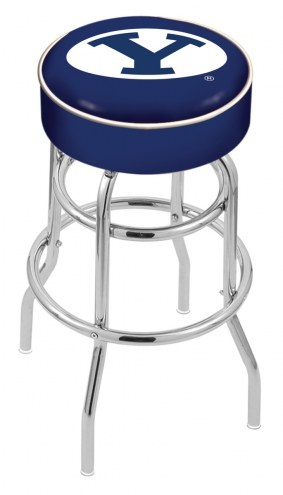 BYU Cougars Double-Ring Chrome Base Swivel Bar Stool