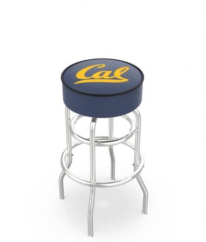 California Golden Bears Double-Ring Chrome Base Swivel Bar Stool