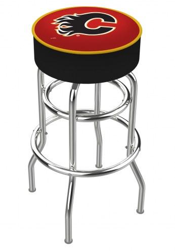 Calgary Flames Double-Ring Chrome Base Swivel Bar Stool